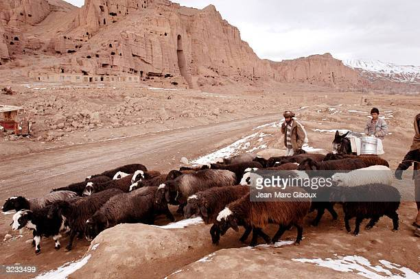 Afghans pass with their herd of sheep November 23 2003 in Bamiyan Afghanistan the archeological site of Bamiyan's famed 5th century Buddha sculptors...