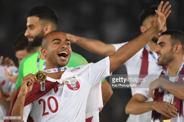 Afif Hassan Ali of Qatar celebrates the win during the AFC Asian Cup final match between Japan and Qatar at Zayed Sports City Stadium on February 1...