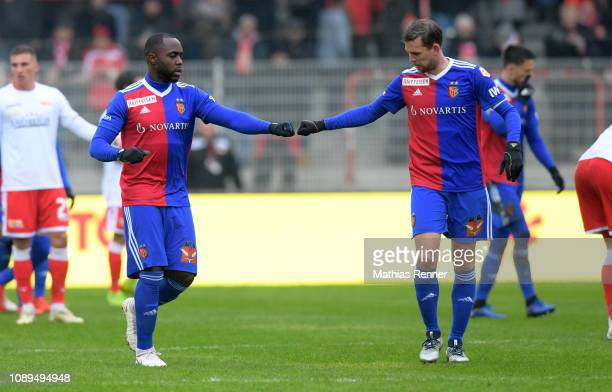 January 26: Afimico Pululu and Fabian Frei of FC Basel celebrate after scoring the 2:2 during the game between Union Berlin and FC Basel at the...