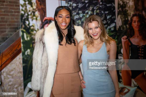 Afiya Bennett and Joy Corrigan attend the Revival Swimwear launch at Yara in Midtown on January 11 2019 in New York City
