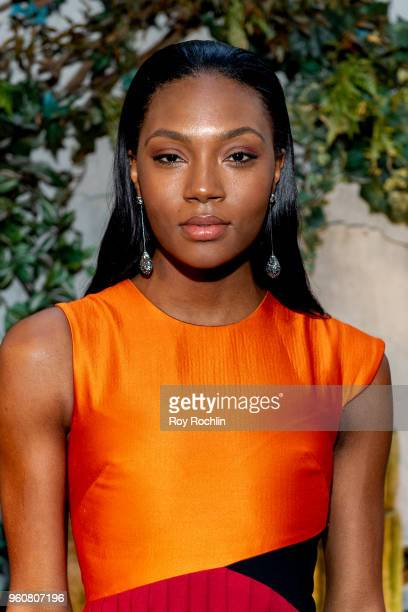 Afiya Bennett attends The Cinema Society with OWN host the 'Queen Sugar' garden cocktail party at Laduree Soho on May 20 2018 in New York City