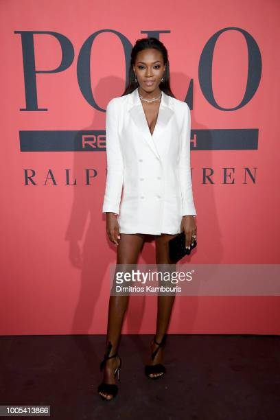 Afiya Bennett attends the Polo Red Rush Launch Party with Ansel Elgort at Classic Car Club Manhattan on July 25 2018 in New York City