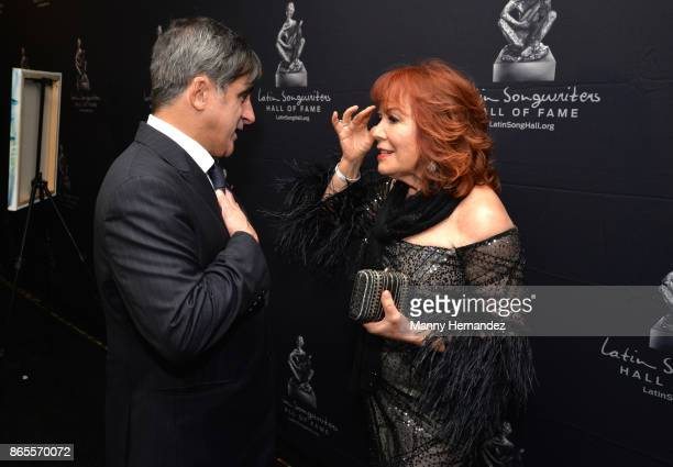 Afo Verde and Vikki Carr at the 5th Annual Latin Songwriters Hall Of Fame's La Musa Award at James L Knight Center on October 19 2017 in Miami Florida