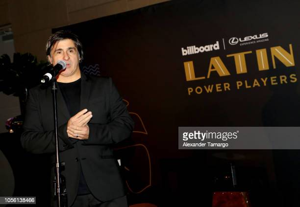 Afo Verde Chairman/CEO Sony Music Latin Iberia speaks on stage at Billboard 2018 Latin Power Players at W South Beach on November 1 2018 in Miami...