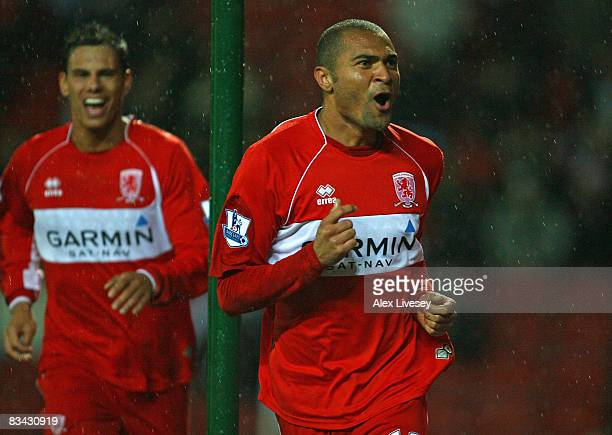 Afonso Alves of Middlesbrough celebrates scoring the opening goal during the Barclays Premier League match between Blackburn Rovers and Middlesbrough...