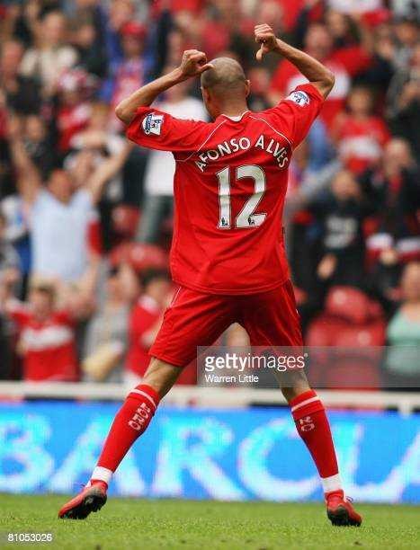 Afonso Alves of Middlesbrough celebrates scoring the second goal during the Barclays Premier League Match between Middlesbrough and Manchester City...