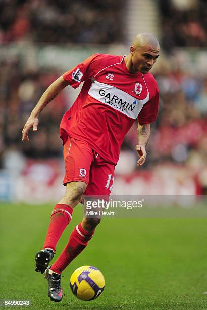 Afonso Alves of Middlesbrough in actio during the Barclays Premier League match between Middlesbrough and Wigan Athletic at the Riverside on February...