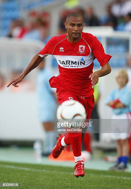 Afonso Alves of Middlesbrough in action during the Algarve Challenge Cup match between Guimaraes and Middlesbrough at the Estadio Algarve on July 24...