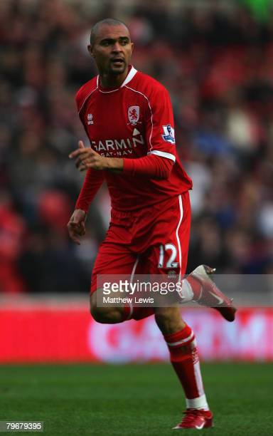Afonso Alves of Middlesbrough in action during the Barclays Premier League match between Middlesbrough and Fulham at the Riverside Stadium on...