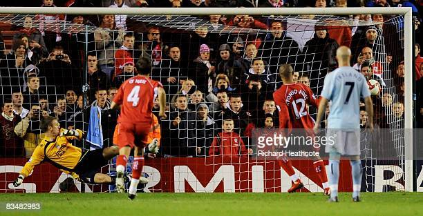 Afonso Alves of Middlesbrough scores from the penalty spot during the Barclays Premier League match between Middlesbrough and Manchester City at the...