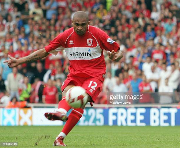 Afonso Alves of Middlesbrough scores the opening goal from a free kick during the Barclays Premier League match between Middlesbrough and Stoke City...