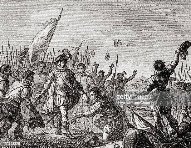 Afonso I or Dom Afonso Henriques First king of Portugal Defeat of the Arabs in Ourique In the same field is proclaimed king Afonso Eighteenthcentury...
