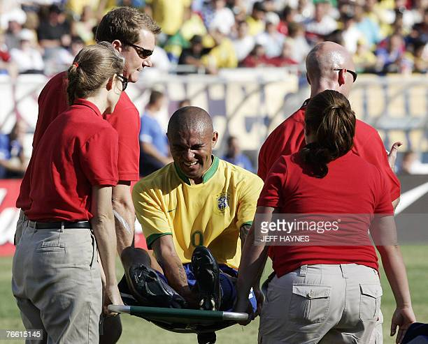 Afonso of Brazil is taken off the field after he was injured against the US during the second half of their friendly soccer match 09 September 2007...