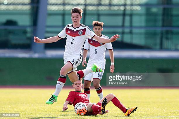 Afonso Sousa of Portugal challenges Samuel Lengle of Germany during the UEFA Under16 match between U16 Portugal and U16 Germany on February 4 2016 in...