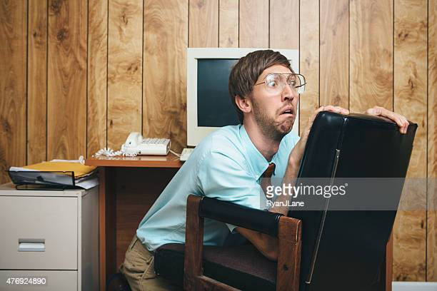 afraid office worker of the past - fear stock pictures, royalty-free photos & images