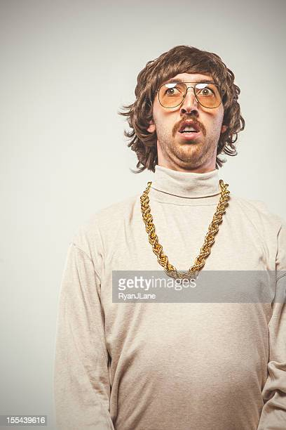 afraid retro seventies man - necklace stock pictures, royalty-free photos & images