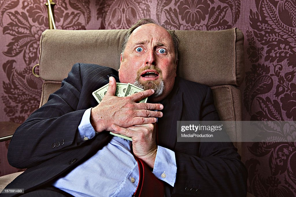 Afraid to loose money : Stock Photo