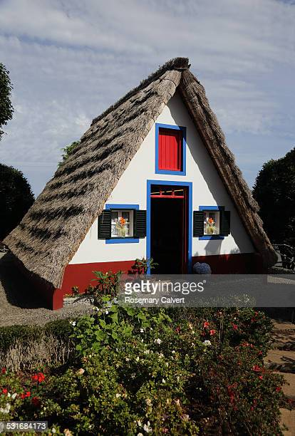 Aframe thatched house iconic shaped dwelling from 1950 1970 in Santana Madeira
