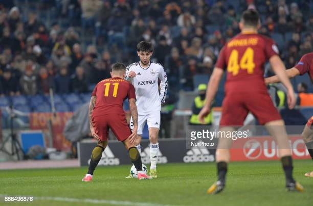 Afran Ismayilov and Aleksandar Kolarov during the Champions League football match AS Roma vs Qarabag at the Olympic Stadium in Rome on december 05...