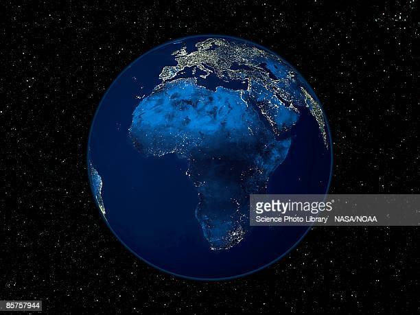 Africa at night, satellite image of Earth at night