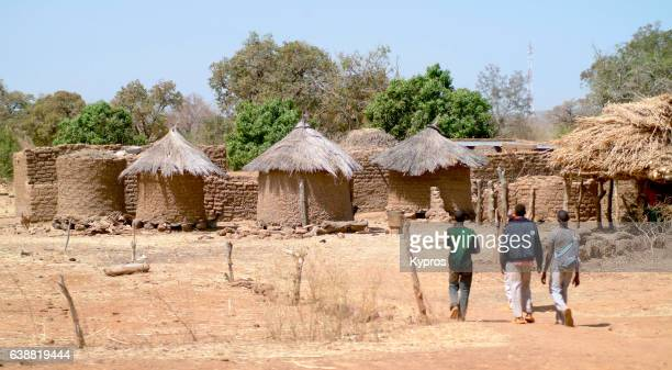 africa, burkina faso, ouagadougou, view of mud hut village (year 2007) - burkina faso stock pictures, royalty-free photos & images