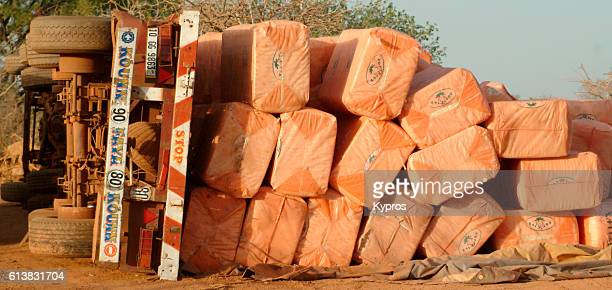 Africa, Burkina Faso, View Of Overturned Lorry (Year 2007) (Year 200x)