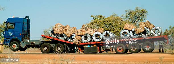 Africa, Burkina Faso, , View Of Semi Trailer With Broken Chassis (Caused By New Road, Speed Bumps, And Lack Of Brakes ... (Year 2007)