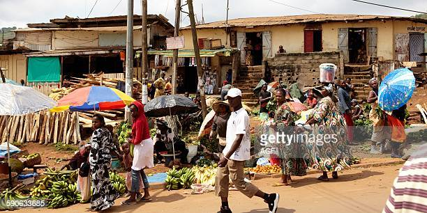 Africa Cameroon Center province Yaounde city a market along the street