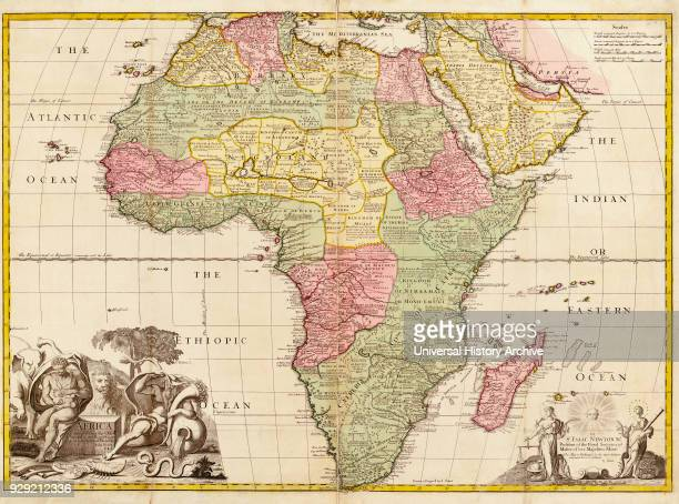 Africa circa 1725 from Modern Geography Drawn and engraved by John Senex The map shows boundaries of kingdoms and tribal areas on the continent as...