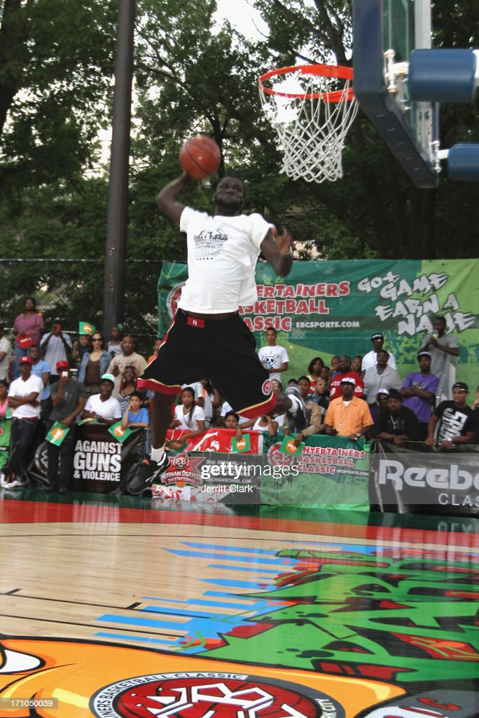 Africa competes in the Reebok Classic Pump Omni Lite Dunk Contest at EBC at Rucker Park on June 20, 2013 in New York City.