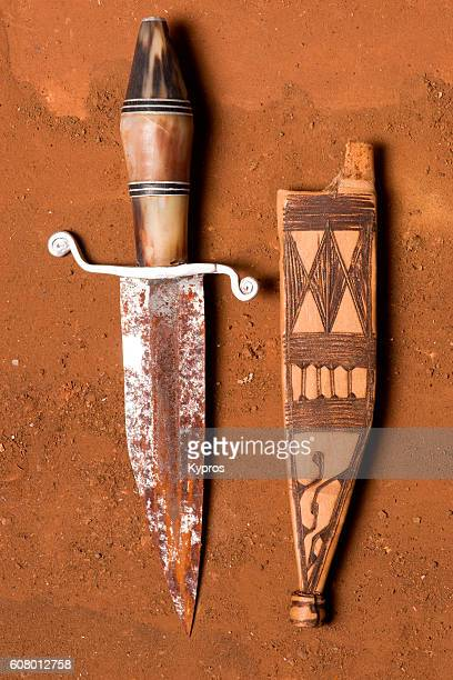 Africa Dar Es Salaam Africa, East Africa, Tanzania, View Of Hand-Made Knife With Leather Sheath (Year 2000)