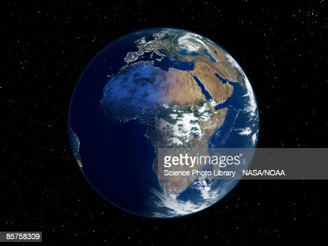Africa Day And Night Satellite Image Of The Earth Stock Photo - World satellite night view