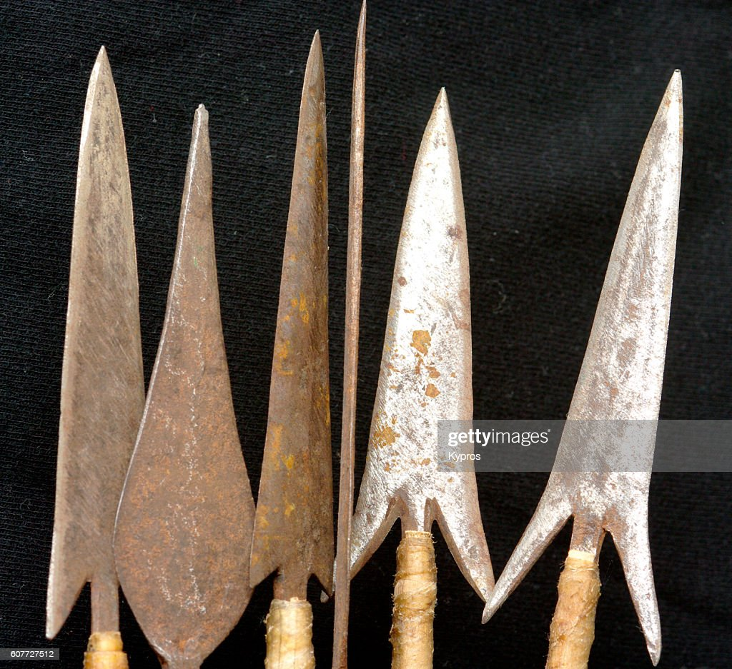 Africa, East Africa, Kenya, Mombassa, View Of Hand-Made Barbed Arrow Heads (For Use Against People) : Stock Photo