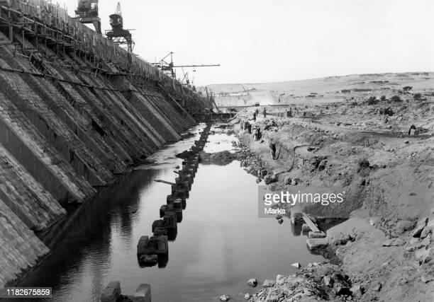 Africa, egypt, assuan, dam construction, 1930.