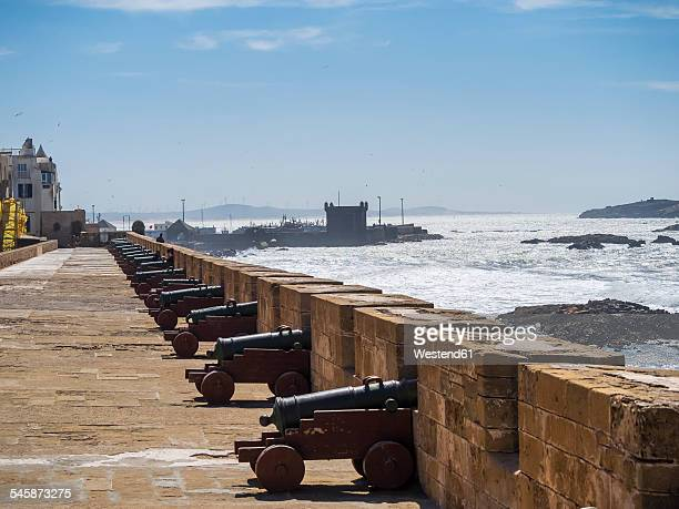Africa, Morocco, Essaouira, Citywall Scala de la Kasbah with cannons, View to Fortress Scala du Port