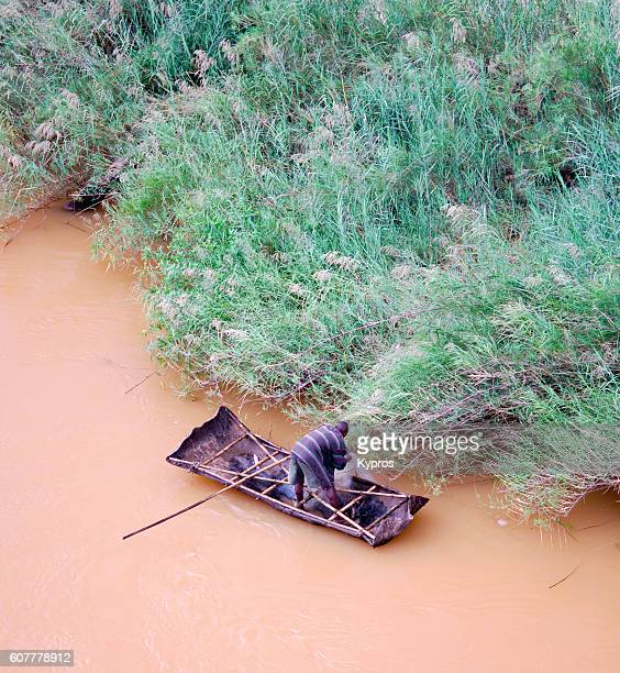 Africa, Mozambique, Aerial View Of Prawn Fisherman In Dugout Canoe (Year 2009)