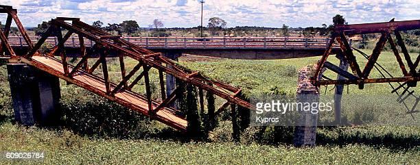 Africa, Mozambique, View Of Africa, Southern Africa, Mozambique, View Of Bombed Railway Bridge (Year 2000)