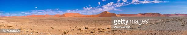 Africa, Namibia, Hardap, Sossusvlei, Namib desert, Namib-Naukluft National Park, Panorama of sand dunes