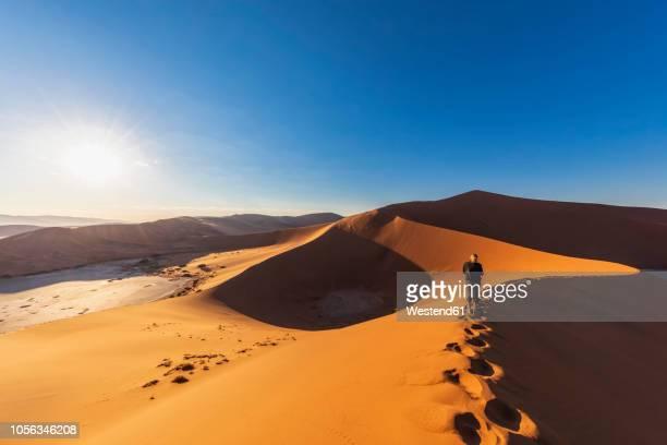africa, namibia, namib desert, naukluft national park, woman on sand dune 'big daddy' - ナミブ砂漠 ストックフォトと画像