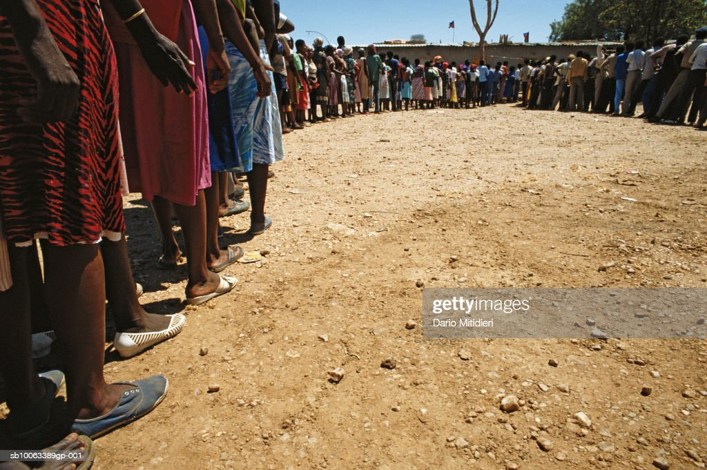 Africa, Namibia, people waiting in line to vote during elections : News Photo