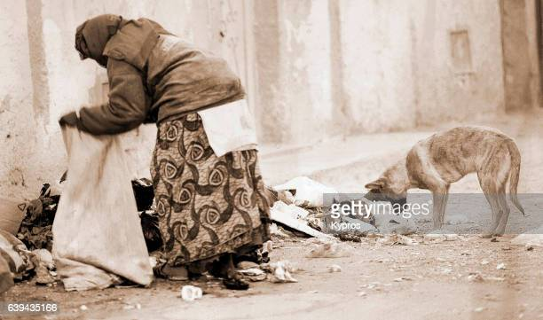 Africa, North Africa, Morocco, View Of Elderly Woman Digging Through Rubbish At Dawn With Pet Dog (Year 2000)