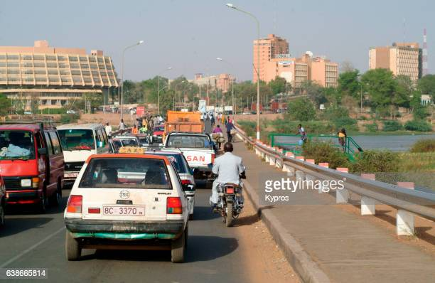 Africa, North Africa, Niger, Niamey, View Of Cars Crossing Bridge Over River Niger (Year 2007)