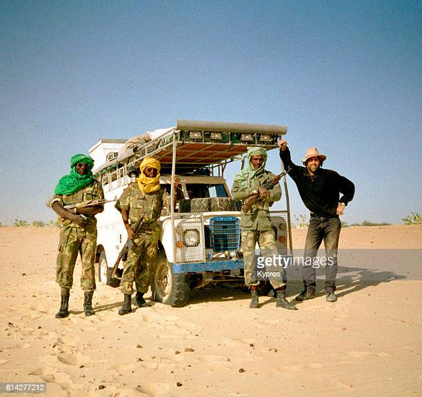 Africa, North Africa, Sahara Desert, Chad Or Tchad, View Of Explorer With African Troops (Year 2000)