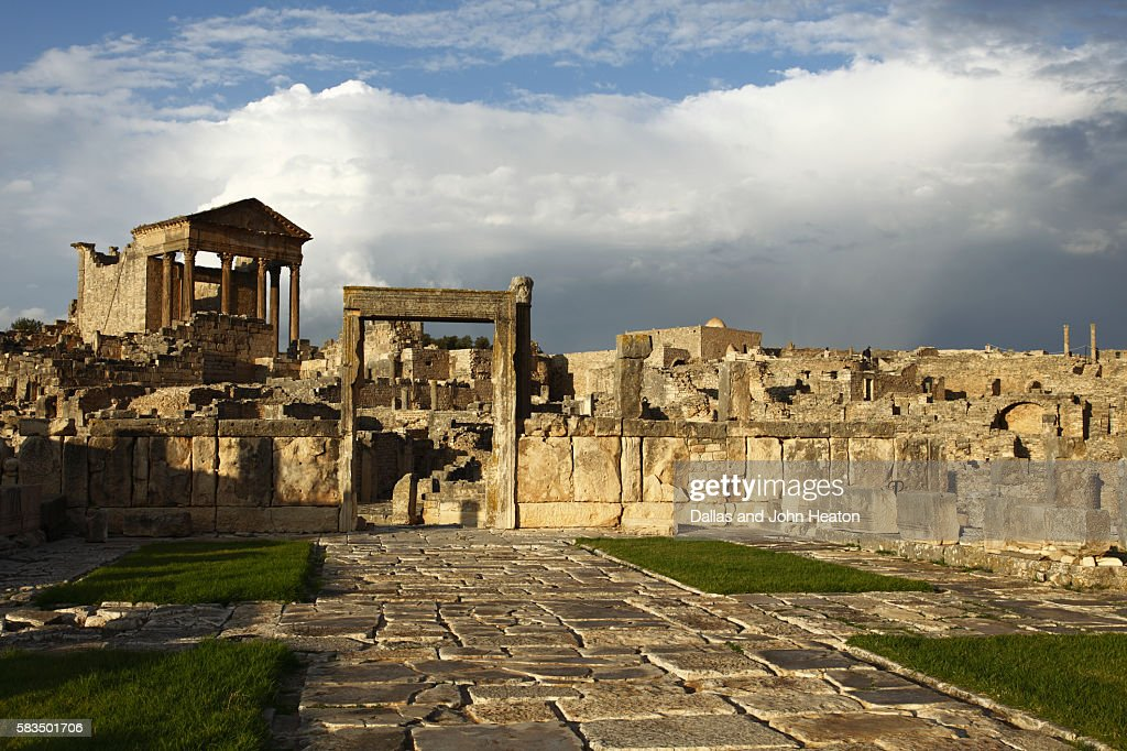 Africa, North Africa, Tunisia, Dougga Archaeological Site, Roman Ruins, The Capitol : Stock Photo