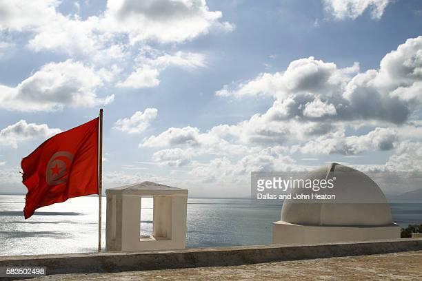 africa, north africa, tunisia, mediterranean sea, sidi bou said, roof, the centre of arab and mediterranean music - drapeau tunisien photos et images de collection