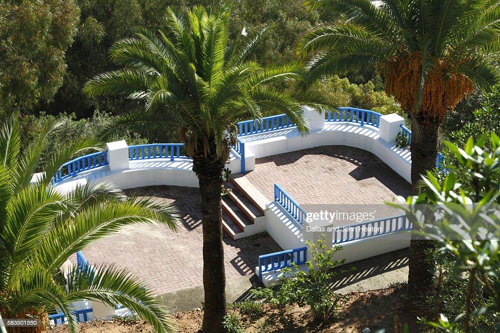 Africa, North Africa, Tunisia, Sidi Bou Said, Garden, The Centre of Arab and Mediterranean Music : Stock Photo