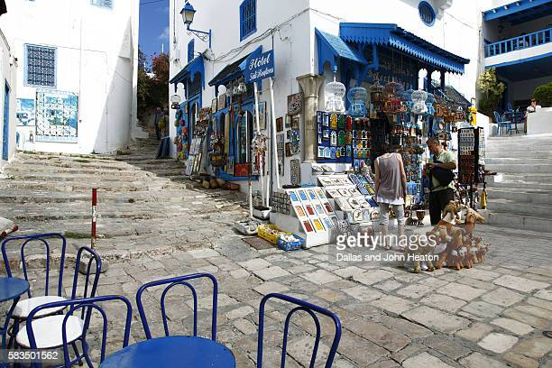 africa, north africa, tunisia, sidi bou said, souvenir shop, white and blue architecture - tunis stock pictures, royalty-free photos & images