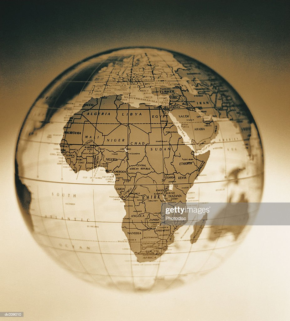 Africa on antique looking globe : Stock Photo