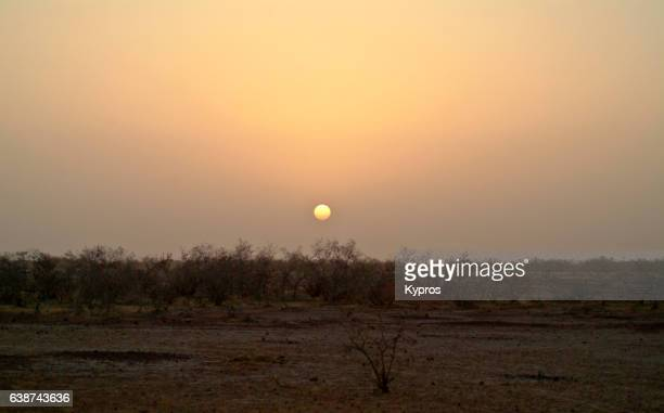 Africa, Sahara Desert, North Africa, Niger, View Of Sunset Over Deserted Desert, Time To Wash And Cook Dinner (Year 2007)