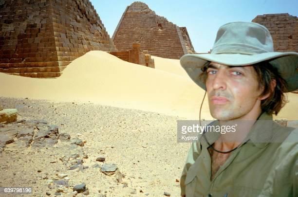 Africa, Sahara Desert, (North) Sudan, View Of Explorer At Meroe Pyramids (Before Restoration) (Year 2000)